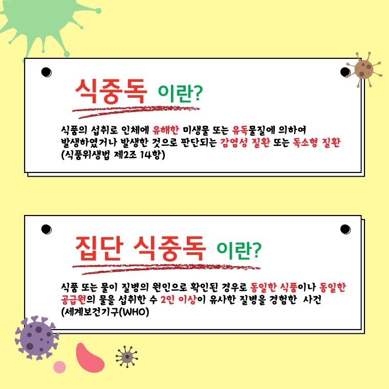 식중독과 집단식중독 정의 내용 카드뉴스