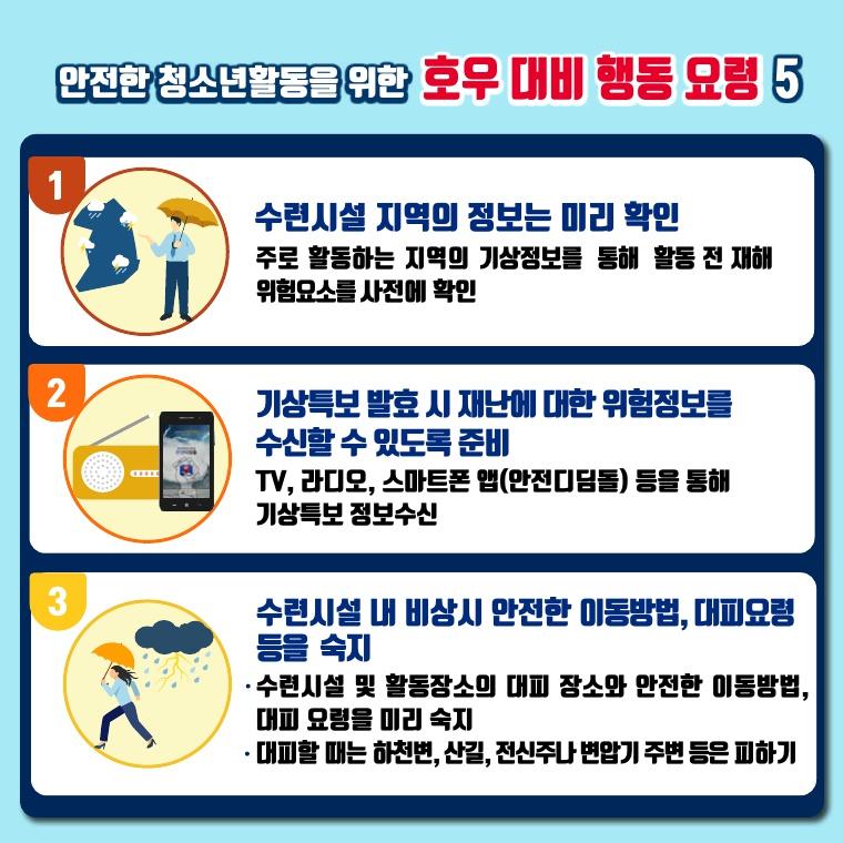 안전한 청소년활동을 위한 호우대비행동요령 5가지 중 3가지